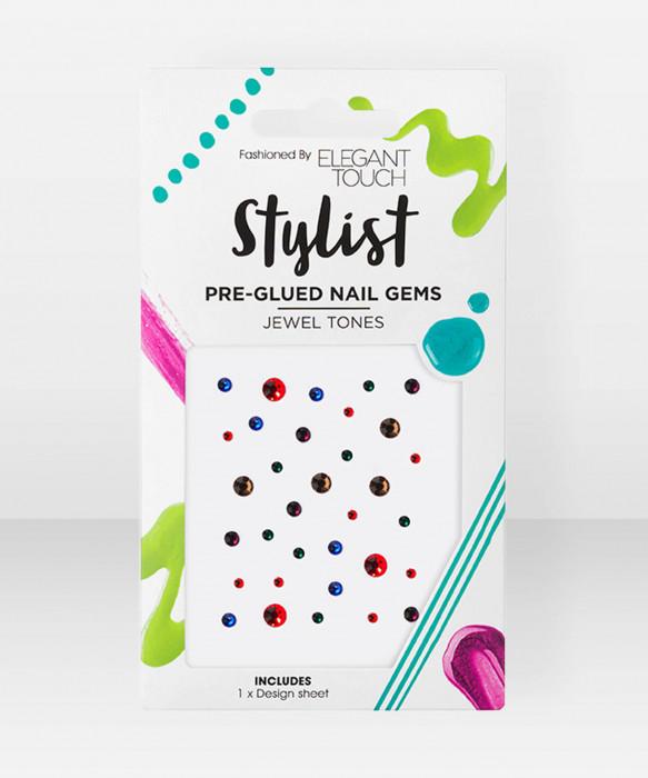 Elegant Touch PreGlued Nail Gems Jewel Tones strassi kynsikoristeet jalokivet