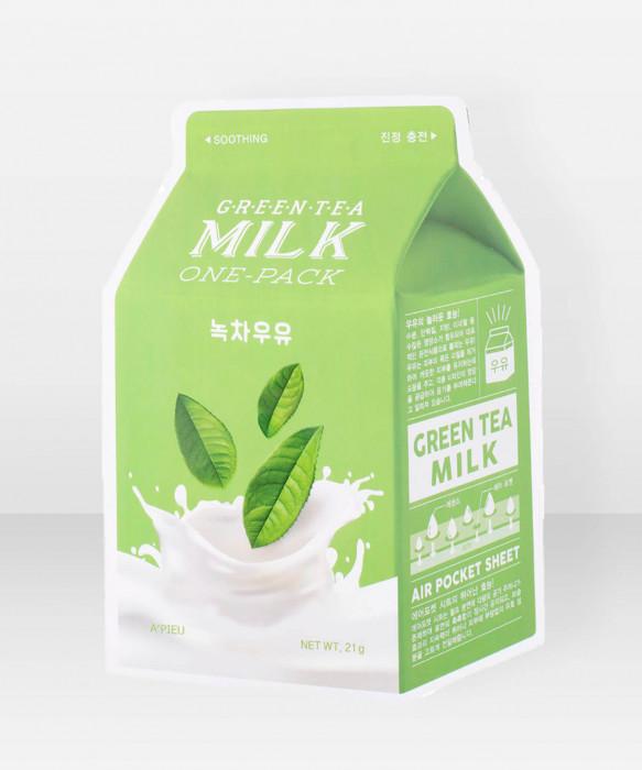 A'Pieu Green Tea Milk OnePack Sheet Mask kangasnaamio kasvonaamio