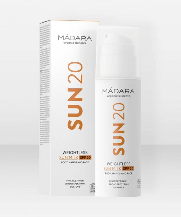 Mádara Weightless Sun Milk SPF20 150ml aurinkosuoja