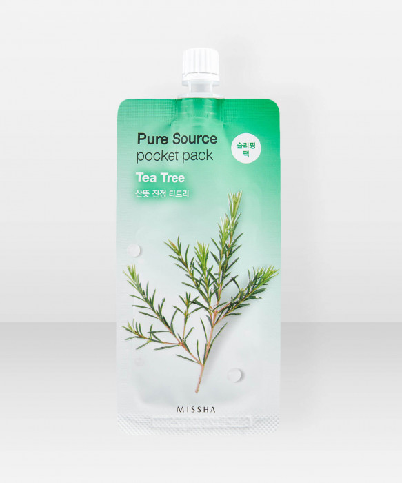 Missha Pure Source Tea Tree Pocket Pack 10ml Yönaamio kasvonaamio