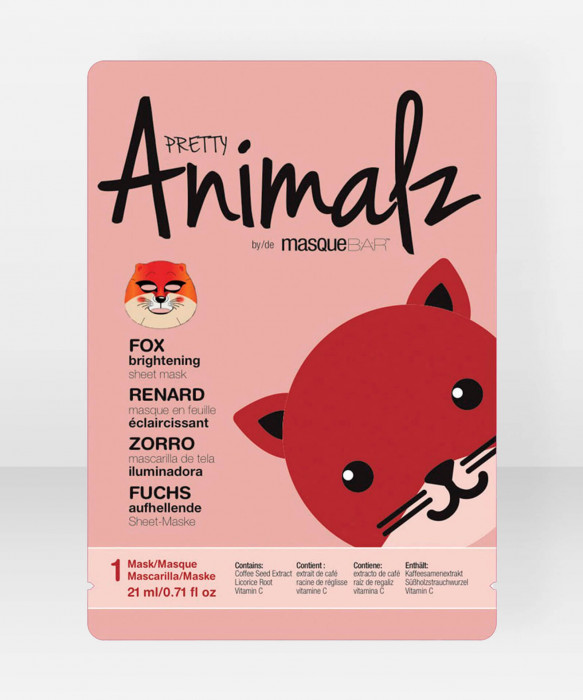 Pretty Animalz by Masque Bar Fox Brightening Sheet Mask kangasnaamio kasvonaamio