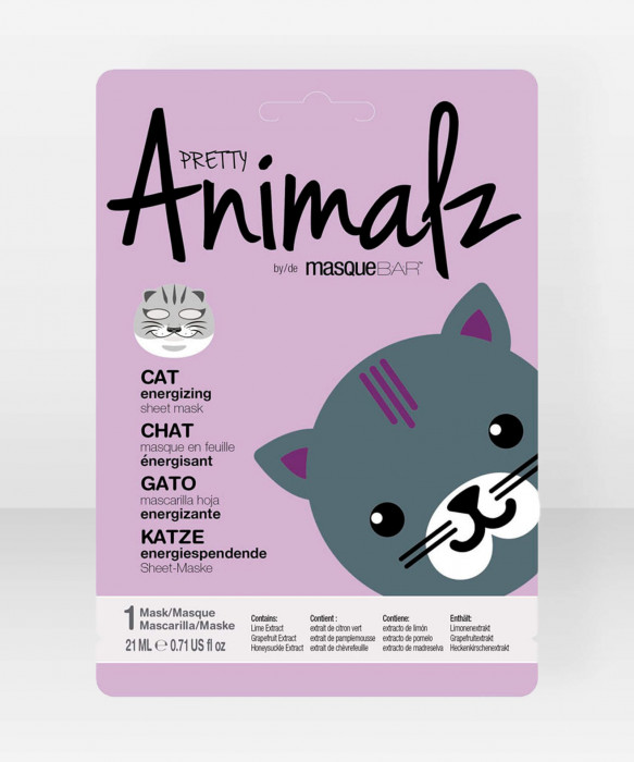 Pretty Animalz by Masque Bar  Cat Energizing Sheet Mask kangasnaamio kasvonaamio