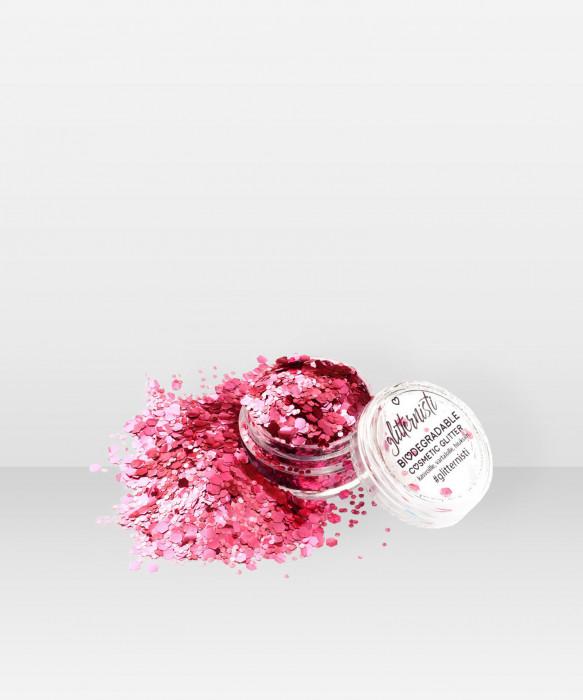 Glitternisti  Eco Chunky Pink Mix 5ml Kosmeettinen glitter kasvoille hiuksille ja vartalolle