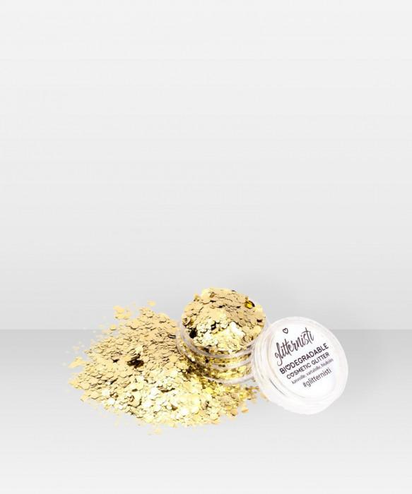 Glitternisti  Eco Chunky Gold Mix 5ml Kosmeettinen glitter kasvoille hiuksille ja vartalolle